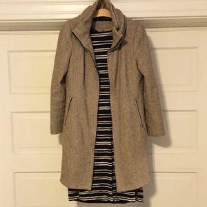Zara Cream & Taupe Zippered Wool Dress Pea Coat